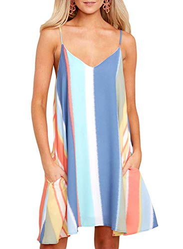 - GOSOPIN Women Sleeveless Floral Strap Beach Swing Short Sundress Medium Blue