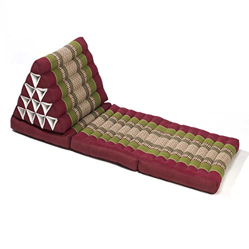 Thai style Triangle Yoga and Relaxation Lounger floor cushion Army Green Red by Lucy & Co.