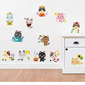 Cartoon children room Lovely Small Kitty wall stickers.