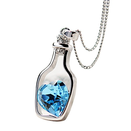 (NEWONESUN Love Drift Bottles Pendant Necklaces, Women Fashion Popular Crystal Necklace Dress Necklace Gifts (Blue))