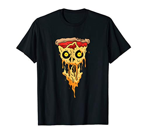 Halloween Cheese Pizza Skull Scary Food Lovers Funny T-Shirt