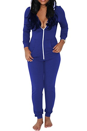 Aro Lora Women's Jumpsuits Sports Casual Bodycon Zip Up Hooded Jumpsuits Romper Medium Blue (Hooded Short Romper)