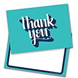 Turquoise Thank You Script Thank You Cards - Includes Envelopes (Pack of 10) - by Ruby Ashley
