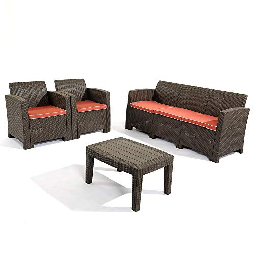 Garden 4 Seater (D+ Garden 3-Seater Brown Sectional Sofa and Loveseat Patio Conversation Set, All Weather 4-Piece Plastic Wicker Patter Outdoor Furniture for Balcony Garden Backyard Pool, w/Red Cushions)