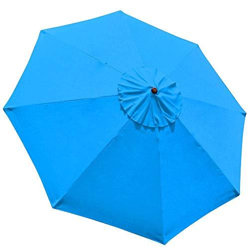 New 9' FT Market Patio Garden Umbrella Replacement Canopy Canvas Cover Blue (Wooden Canopy Garden)