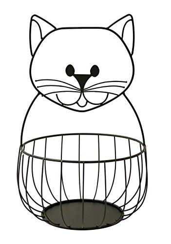 Boston Warehouse Cat Fruit Bowl and Countertop Storage Basket, Black