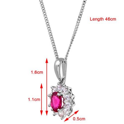 Revoni Bague en or blanc-18carats Diamant Ruby-Collier Femme-Pendentif Grappe, design