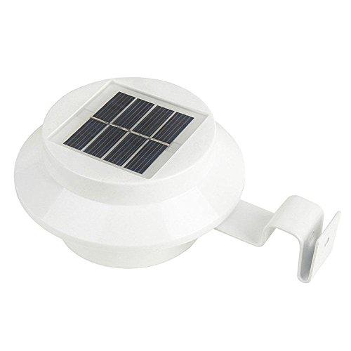White Solar Powered LED Outdoor Light Lamp Fence Gutter Roof Yard Wall Garden by Waycross
