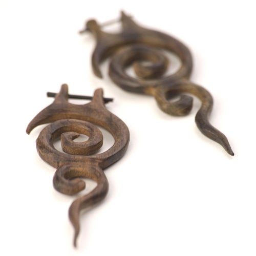 81stgeneration Women's Wood Brown Handmade Spiral Tribal Dangle Earrings