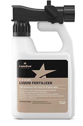 LawnStar 0-0-29 NPK Liquid Fertilizer (32 OZ) - Highly Bioavailable Potassium Acetate Lawn Food - Treats Potash Deficiency, Low Burn Potential - Boosts Root Development for All Grass Types - US Made