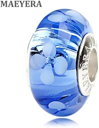 Calvas Authentic 925 Sterling Silver Lampwork Beads Light Blue Quatrefoil Murano Glass Beads for European Charm Bracelet 920227