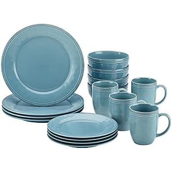 Rachael Ray Cucina Dinnerware 16-Piece Stoneware Dinnerware Set Agave Blue  sc 1 st  Amazon.com & Amazon.com | Rachael Ray Dinnerware Round and Square 16-Piece ...