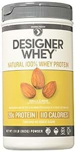 Designer Whey Premium Natural 100% Whey Protein, Vanilla Almond, 1.9 lb