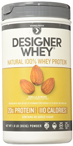 Designer Whey Premium Natural 100% Whey Protein, Vanilla Almond, 1.9 lb - Powder Almond