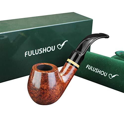 - FULUSHOU Mediterranean Briar Wood Tobacco Pipe, Simple Atmosphere Tobacco Pipe - Desktop Pipe