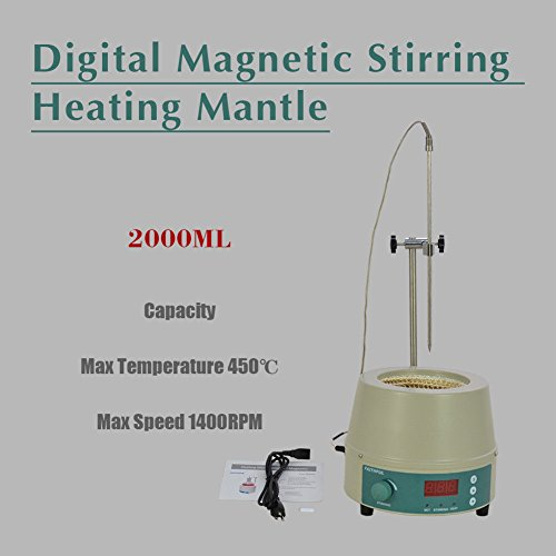 2000ml Electric Digital LCD Magnetic Stirring Heating Mantle 842 450W 0-1400prm