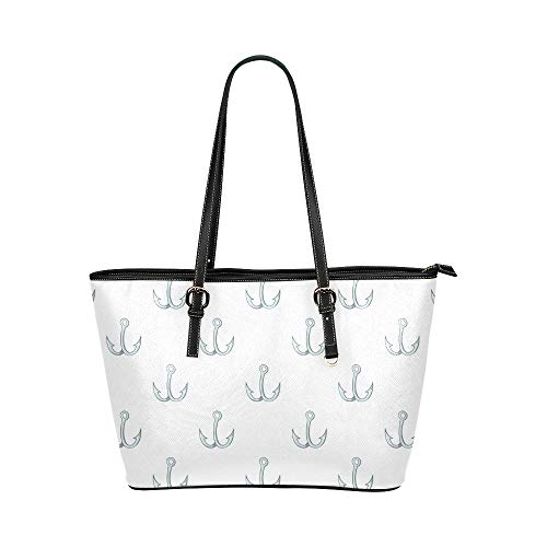 Fish Hook Fishing Tool Large Leather Portable Top Handle Hand Totes Bags Causal Handbags Zipped Shoulder Shopping Purse Luggage Organizer For Lady Girls Womens