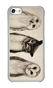 Apple Iphone 5C Case,WENJORS Unique The Owls 3 Hard Case Protective Shell Cell Phone Cover For Apple Iphone 5C - PC Transparent