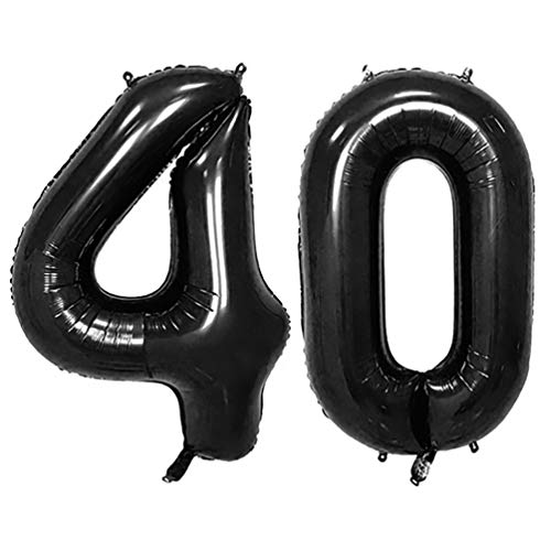 KIYOOMY 40 in Number 40 Balloon Black Gaint Jumbo Foil Mylar Number Balloons for 40th Birthday Party Decorations (40 -