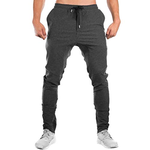 56ce57bd49b5 iLXHD Men Sweatpants Autumn Slacks Casual Elastic Sportwear Baggy Jogging  Trousers Sport pants(Gray ,XL)