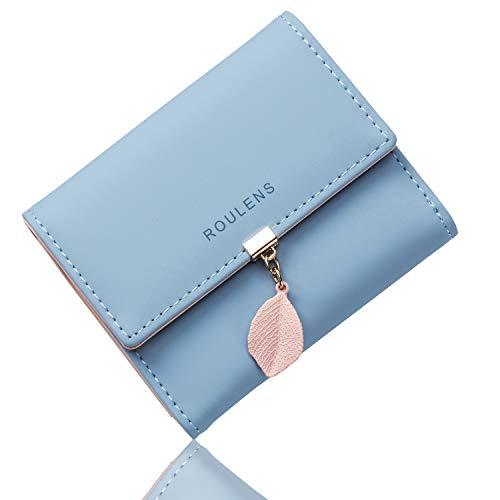 🥇 Roulens Cartera de Mujer con RFID Monedero Corto Adorno Hoja Colgante Cartera Minimalista con Bolsillo de Cremallera para Monedas