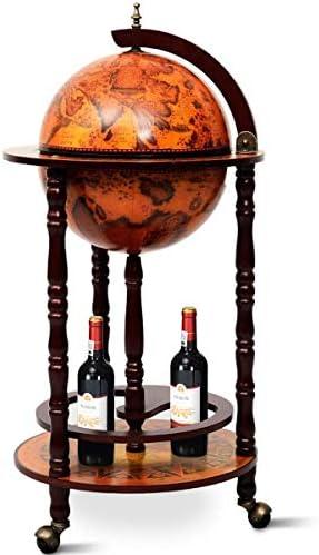 ReunionG Wine Bar Stand 16th Century Italian Wood Globe Rack Liquor Bottle Shelf