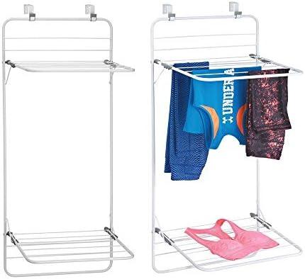 mDesign Juego de 2 tendederos para colgar en la puerta – Colgadores de ropa en metal