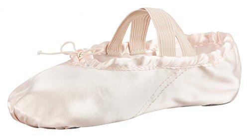 geteilte Satin champagner Ballettschläppchen rosa und tanzmuster Ledersohle rosa Ballettschuhe aus 8aqtwxaIT