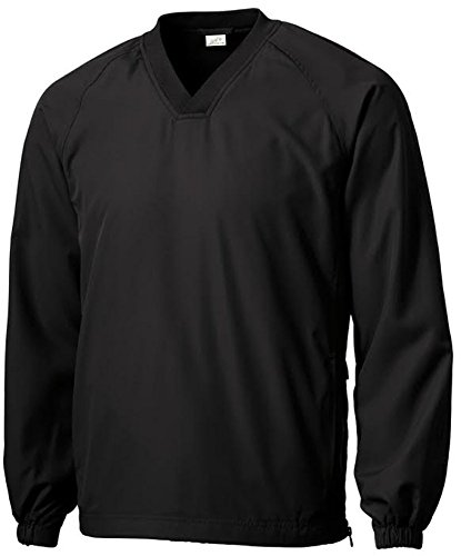 Joe's USA(tm - Men's Athletic All Sport V-Neck Raglan Wind Shirts in XL Black