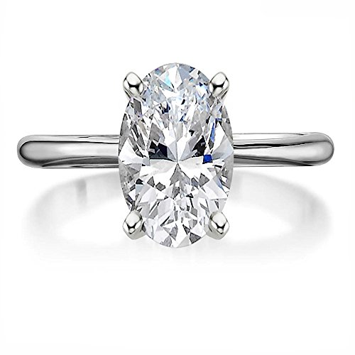Lemon Grass 2.75ct Oval Solitaire Engagement Ring Thin Band in Sterling Silver 925 Size 4-8