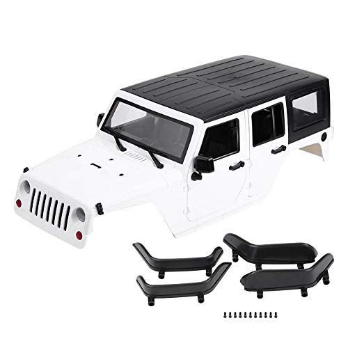 Dilwe RC Car Body Shell, Remote Control Model Vehicle Body Shell for Axial SCX10 Jeep Wrangler RC Crawler Car( White)