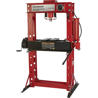 Strongway Air/Hydraulic Shop Press with Gauge and Winch - 50-Ton Capacity (Band Saw Hydraulic Cylinder)