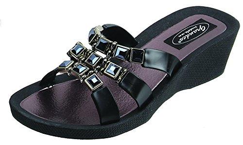 Onyx Slide (Grandco Onyx Wedge Slide Black Sandals Size 10 M US)
