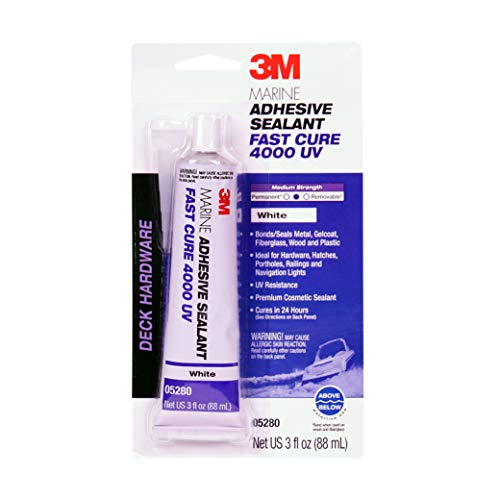 (3M Marine Adhesive Sealant Fast Cure 4000UV (05280) – UV Resistant Adhesive Sealant for Boats and RVs – White – 3 Ounces)