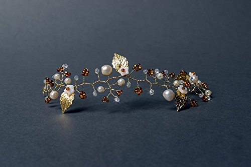Delicate bridal hair vine with freshwater pearls, white glass flowers, crystals, golden leaves and seed beads.