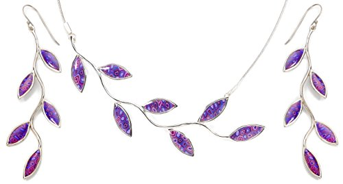 925 Sterling Silver Olive Leaf Jewelry Set Handmade Purple Polymer Clay Necklace and Long Drop Earrings, 16.5'' by Adina Plastelina Handmade Jewelry