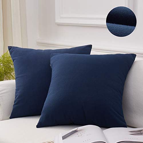 Blue Pillow Cover - MoMA Decorative Throw Pillow Covers (Set of 2) - Linen Blend Pillow Cover Sham Cushion Cover - Throw Pillow Cover - Sofa Throw Pillow Cover - Square Decorative Pillowcase - Navy Blue - 18
