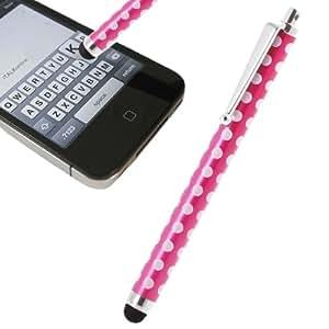 iTALKonline Rosa Blanco Lunares Ejecutivo prima Advanced Touch Tip Stylus Pen con punta de goma para Gigabyte Gsmart GS202