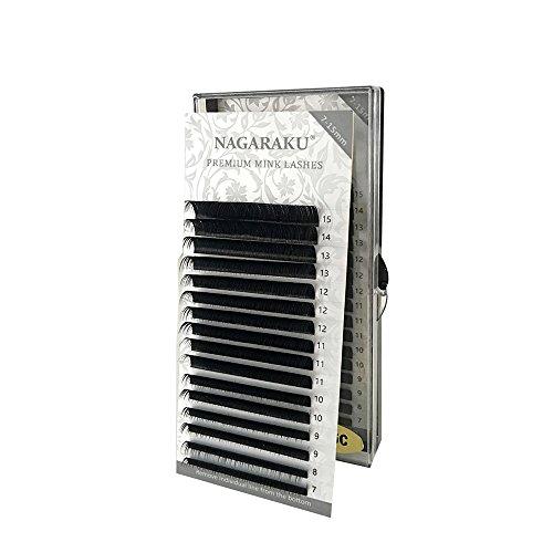4a6048dafd5 NAGARAKU Eyelash Extensions Individual Faux Mink Eyelash Length 7-15mm  Mixed in one tray False