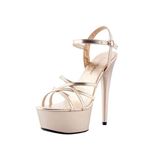 ALUK long245mm Shoes Tacco a Rosso alto donna da Colore Scarpe banchetto 39 Sandali da 15cm dimensioni Flower Sweet spillo Oro CnwCrAUq