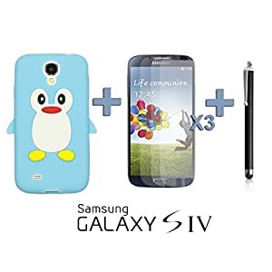 LJF phone case OnlineBestDigital - Penguin Style Silicone Case for Samsung Galaxy S4 IV I9500 / I9505 - Light Blue with 3 Screen Protectors and Stylus