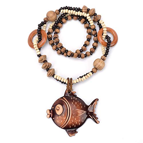 (YChoice of Lovely Cosmetics Toy Women's Wood Beaded Chain Carved Pendant Bohemian Retro Necklace Long Sweater Clothing Accessories-Fish)