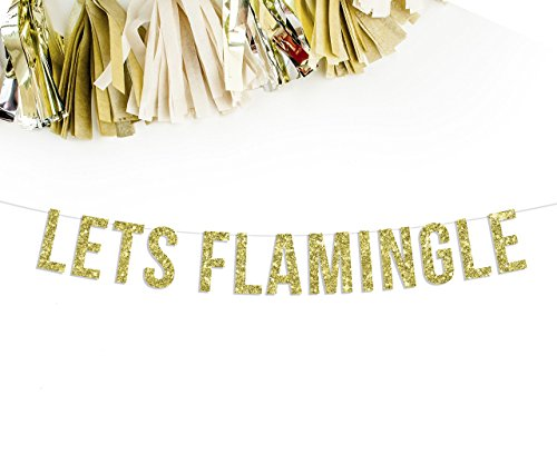 Let's Flamingle Banner | bachelorette birthday pineapple flamingo luau hawaiian theme party decor celebration decorations