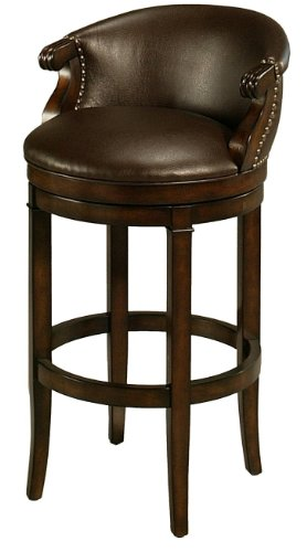 Pastel Furniture PN-227-30-DC-985 Princetown Swivel Barstool, 30-Inch, Distressed Cherry and Bonded Ridge Leather