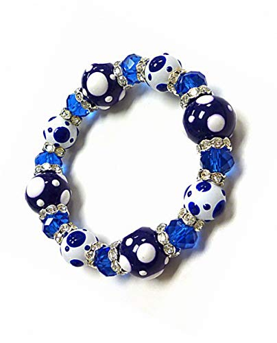 Linpeng PD-04 Fiona Hand Painted Polka Dots Glass Beads Stretch Bracelet