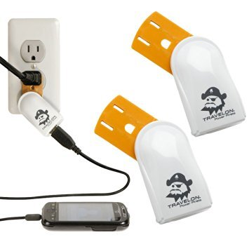 2-travelon-usb-power-pirate-travel-cell-phone-chargers-wall-outlet-hubs-ports-12556