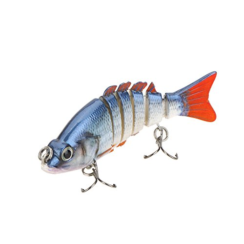 "Sygrand(TM) 85mm 11g 3.3"" 6-segement Multi Jointed Fishing Lures Life-like Hard Lure Minnow Swimbait Fishing Bait 2 Treble VMC Hooks"