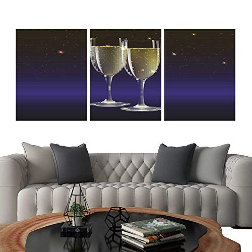 (UHOO Triptych Art SetChampagne Glasses and Streamer with on Dark background3. Modern Wall Art for Living Room Decoration 24