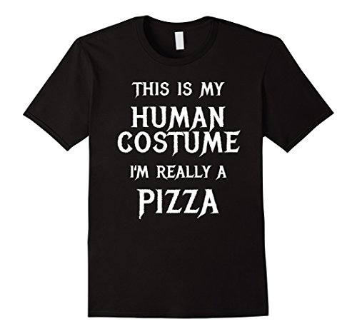 Men's Pizza Costume (Mens Pizza Halloween Costume Shirt Easy Funny for Men Boys Girls Large Black)