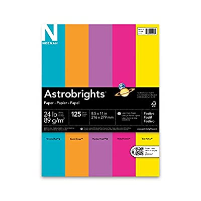 Neenah Astrobrights Premium Color Paper Festive Assortment, 24 lb, 8.5 x 11 Inches, 125 Sheets
